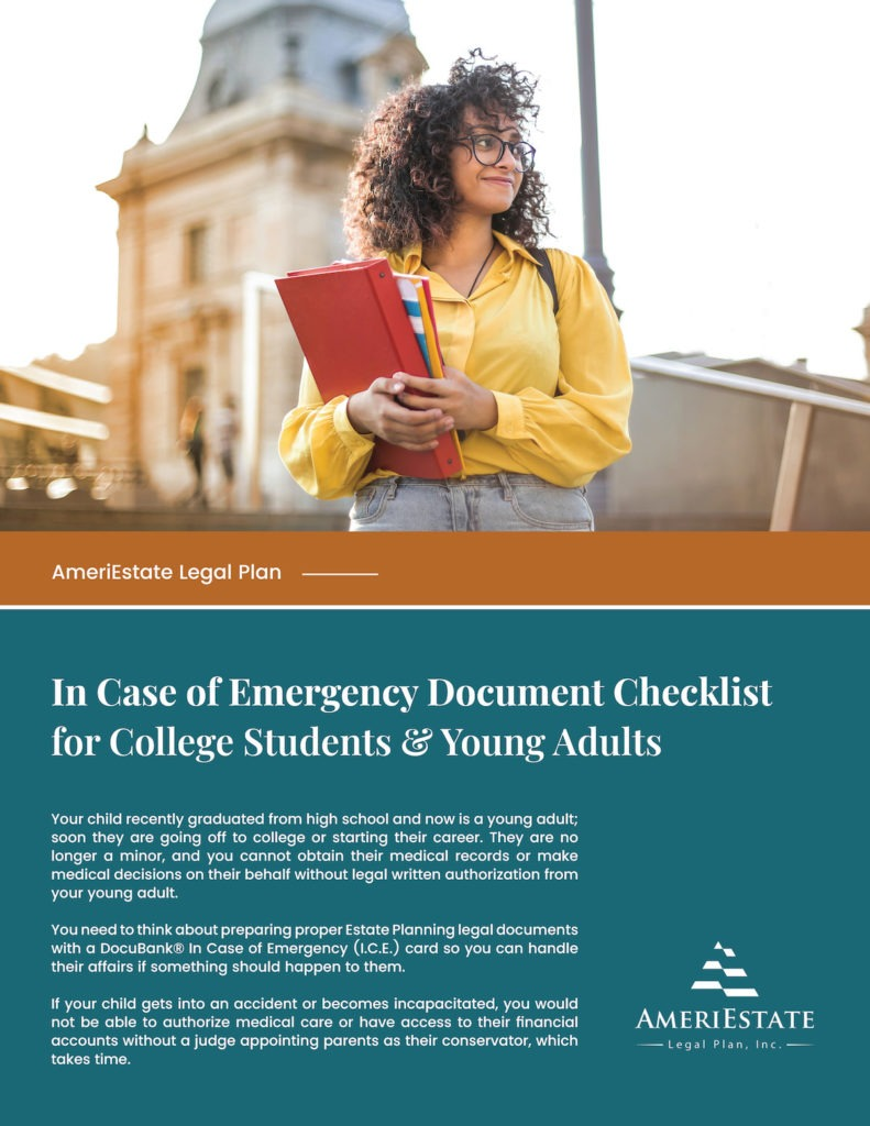 FREE In Case of Emergency Document Checklist for College Students and Young Adults | AmeriEstate Legal Plan